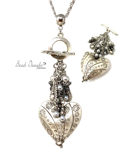Floral Puffed Heart Swarovski Pearl Beaded Dangle Pendant Necklace #3139D - Bead Dangle Design