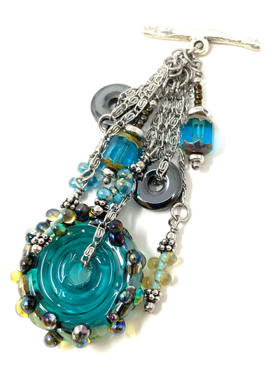 Lampwork Glass Beaded Disc Cluster Pendant Necklace #2635D - Bead Dangle Design