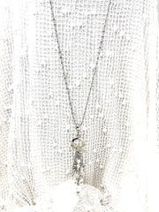 White Swarovski Pearl and Pave' Crystal Beaded Pendant Chain Necklace #2670D - Bead Dangle Design