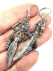 Feather Beaded Cluster Dangle Earring #1161E - Bead Dangle Design