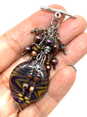 Brown Lampwork Glass Swirl Beaded Pendant Necklace #2354D - Bead Dangle Design