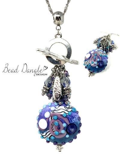 Lampwork Glass Beaded Cluster Pendant Necklace #2410D - Bead Dangle Design