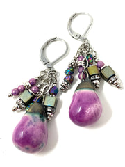 Crackled Ceramic Glass Beaded Dangle Earrings #1211E - Bead Dangle Design