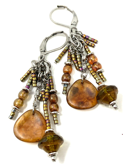Czech Glass and Seed Beaded Dangle Cluster Earrings #1145E - Bead Dangle Design