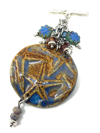 Polymer Clay Starfish Beaded Dangle Cluster Necklace #2317D - Bead Dangle Design