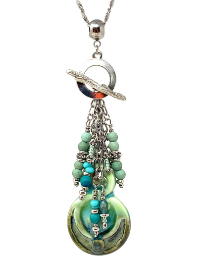 Handmade Porcelain Beaded Pendant Necklace #2378D - Bead Dangle Design