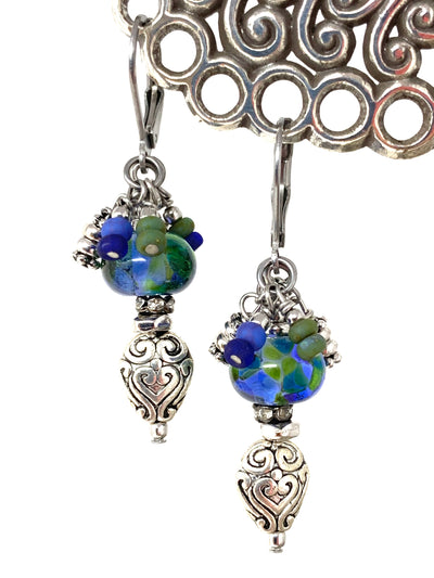 Blue and Green Lampwork Glass Filigree Beaded Dangle Earrings #1356E - Bead Dangle Design