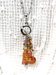 Yellow and Orange Speckled Lampwork Glass Heart Beaded Cluster Necklace #2322D - Bead Dangle Design