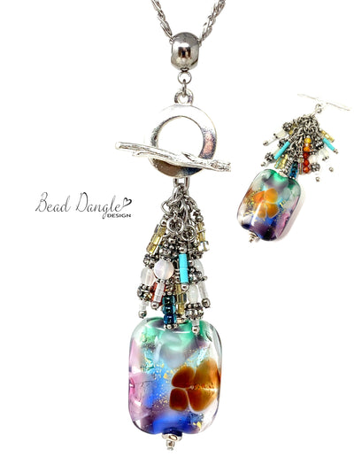 Colorful Floral Lampwork Glass Beaded Pendant #3059D - Bead Dangle Design