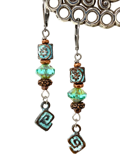 Patina Copper and Czech Glass Beaded Dangle Earrings #1301E