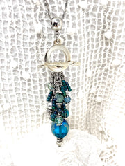Gorgeous Blue and Green Czech Fire Polished Beaded Cluster Pendant Necklace #2668D - Bead Dangle Design