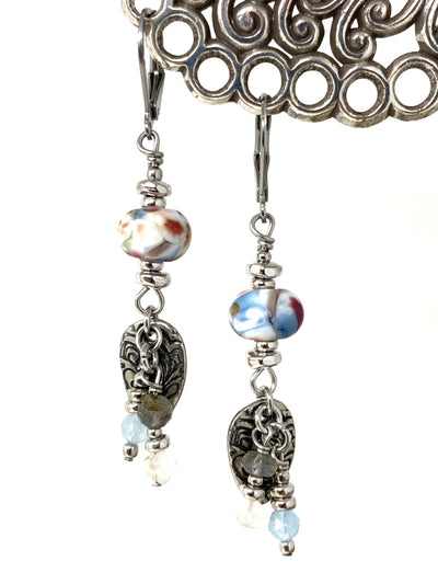 Lampwork Glass Pewter Embossed Beaded Dangle Earrings #1361E - Bead Dangle Design