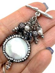 Pave' White Abalone Beaded Cluster Pendant #2618D - Bead Dangle Design