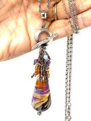 Gorgeous Colorful Lampwork Glass Swirl Beaded Dangle Necklace #2339D - Bead Dangle Design