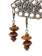 Copper Shimmer Lampwork Glass Beaded Earrings #1371E - Bead Dangle Design