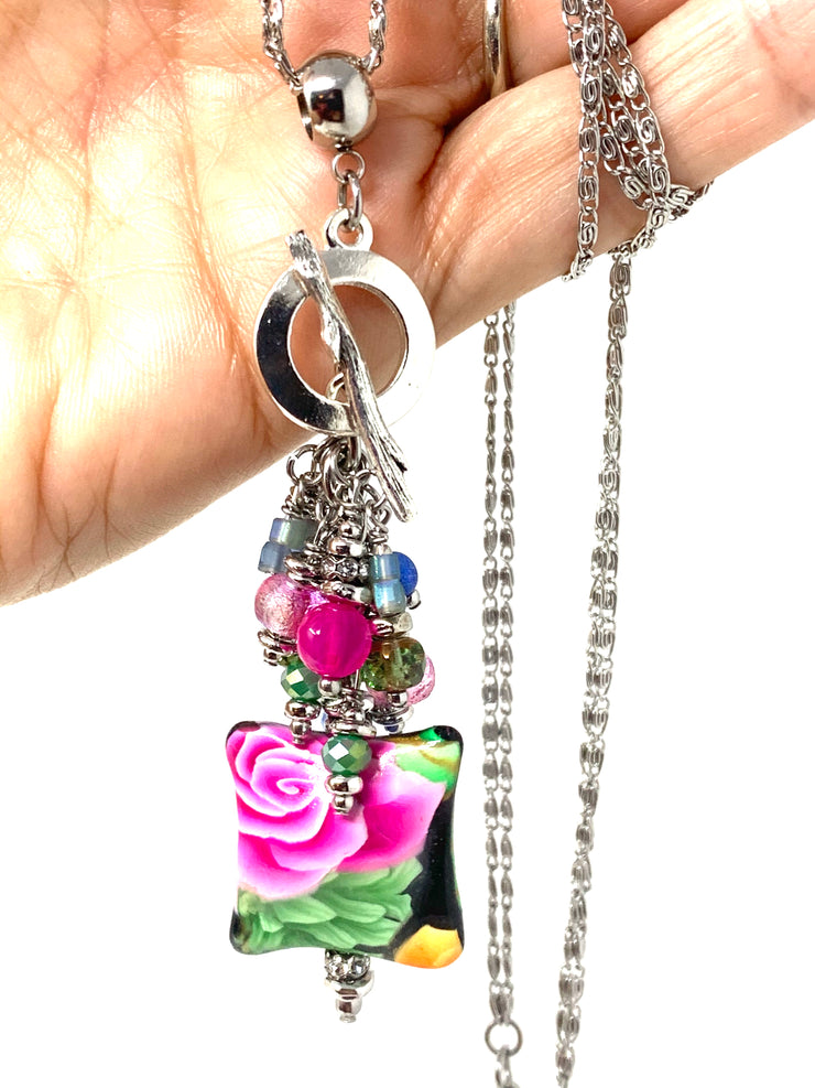 Handmade Puffed Floral Beaded Cluster Pendant Necklace #22719D - Bead Dangle Design