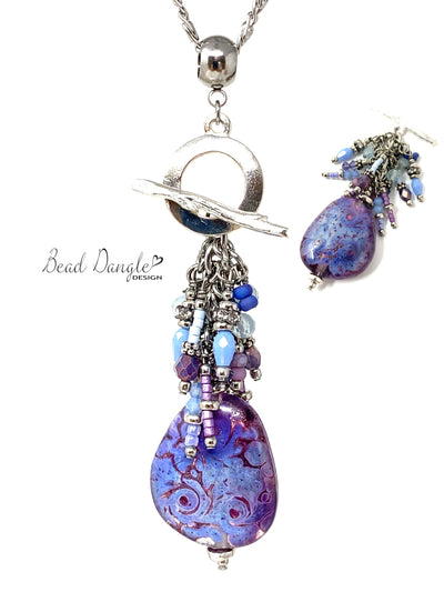 Beautiful Lavender Swirl Interchangeable Beaded Pendant Necklace #3070D