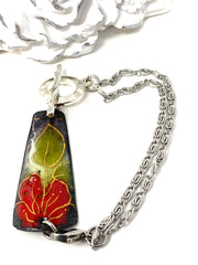 Hand-Painted Copper Enamel Interchangeable Dangle Bracelet Pendant #3105BC