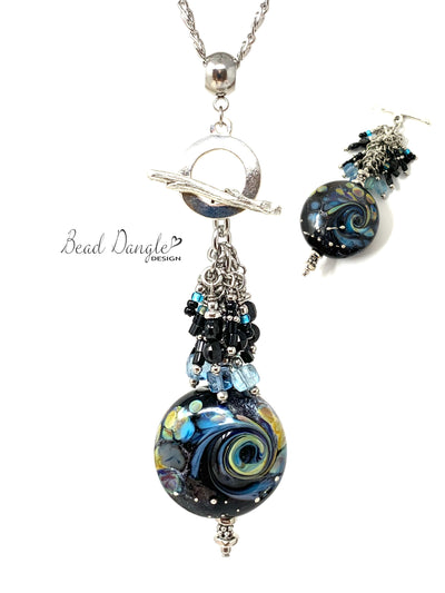 Lampwork Glass Swirl Interchangeable Beaded Pendant Necklace #3070D