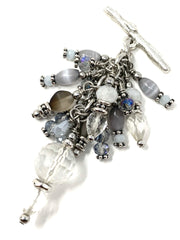 Faceted Crystal Quartz Beaded Cluster Pendant #2611D - Bead Dangle Design