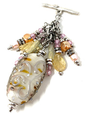 Golden Lampwork Glass Beaded Pendant Necklace #2377D - Bead Dangle Design