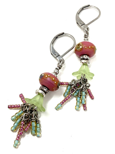 Beautiful Tiny Seed Bead and Lampwork Glass Tulip Beaded Dangle Cluster Earrings #1149E