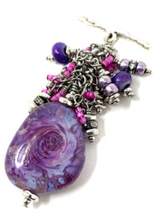 Purple and Fuchsia Lampwork Glass Beaded Cluster Necklace #2327D - Bead Dangle Design