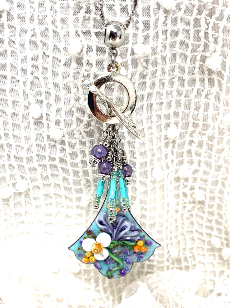 Hand-Painted Lampwork Glass Copper Enamel Floral Beaded Cluster Pendant #2630D - Bead Dangle Design
