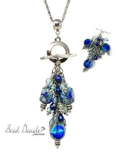 Gorgeous Blue and Green Czech Fire Polished Beaded Cluster Pendant Necklace #22711D - Bead Dangle Design
