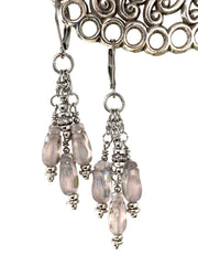 Frosted Glass Tulip Beaded Dangle Earrings #1178E