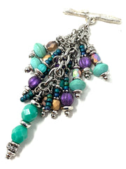 Turquoise and Purple Beaded Czech Glass Chain Pendant Necklace #2657D - Bead Dangle Design