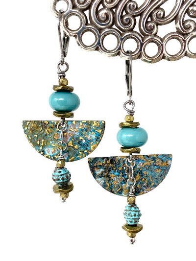 Copper Patina Lampwork Glass Beaded Dangle Earrings #1343E - Bead Dangle Design