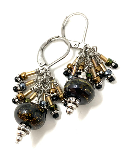 Black and Gold Lampwork Glass Seed and Bugle Bead Dangle Cluster Earrings #1152E - Bead Dangle Design