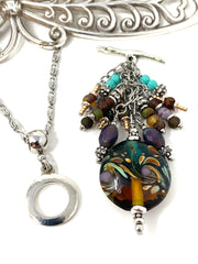 Lampwork Glass Swirl Beaded Cluster Pendant Necklace #22715D