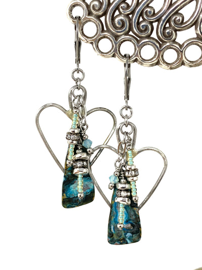 Copper Patina Heart Beaded Dangle Earrings #1348E - Bead Dangle Design