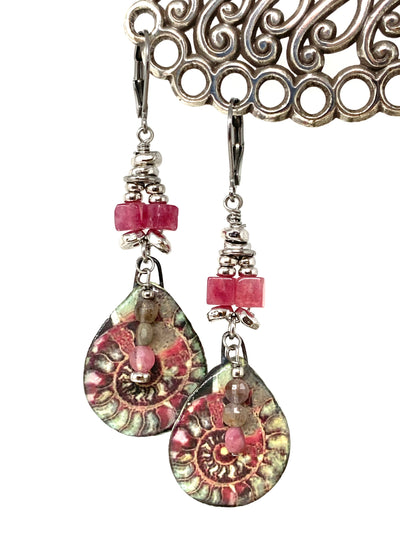 Colorful Boho Swirl Pink Tourmaline Beaded Earrings #1435E