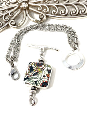 Stain Glass Porcelain Interchangeable Dangle Bracelet #3214BC - Bead Dangle Design