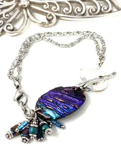 Boho-Chic Polymer Clay Embossed Interchangeable Dangle Bracelet Pendant #31075BC