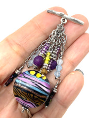 Colorful Lampwork Glass Beaded Chain Cluster Pendant Necklace #2663D - Bead Dangle Design