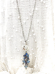 Czech Glass and Crystal Beaded Cluster Pendant Necklace #22714D - Bead Dangle Design