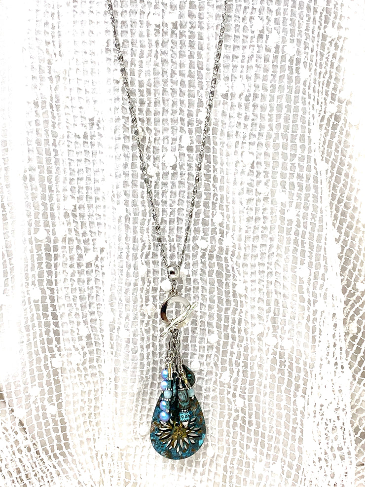 Boho Patina Beaded Cluster Dangle Pendant Necklace #2348D - Bead Dangle Design