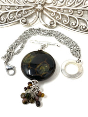 Agate and Smokey Quartz Interchangeable Beaded Dangle Bracelet #3233BC - Bead Dangle Design