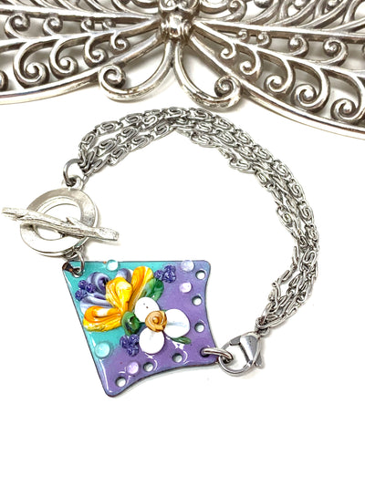 Floral Painted Enamel Interchangeable Beaded Dangle Bracelet #3235BC - Bead Dangle Design