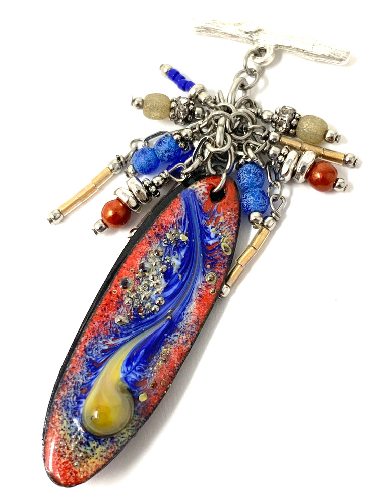 Hand-Painted Copper Enamel Beaded Pendant #3055D - Bead Dangle Design