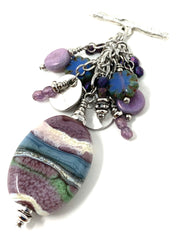 Lavender, White and, Blue Lampwork Glass Beaded Cluster Necklace #2324D - Bead Dangle Design