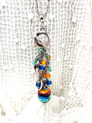 Colorful Lampwork Glass Beaded Cluster Pendant Necklace #2297D - Bead Dangle Design