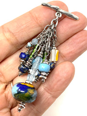 Baby Blue Swirl Lampwork Glass Beaded Cluster Pendant Necklace #22724D - Bead Dangle Design