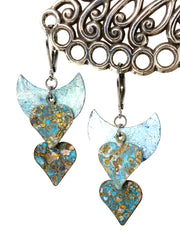 Patina Copper Heart Beaded Dangle Earrings #1233E - Bead Dangle Design