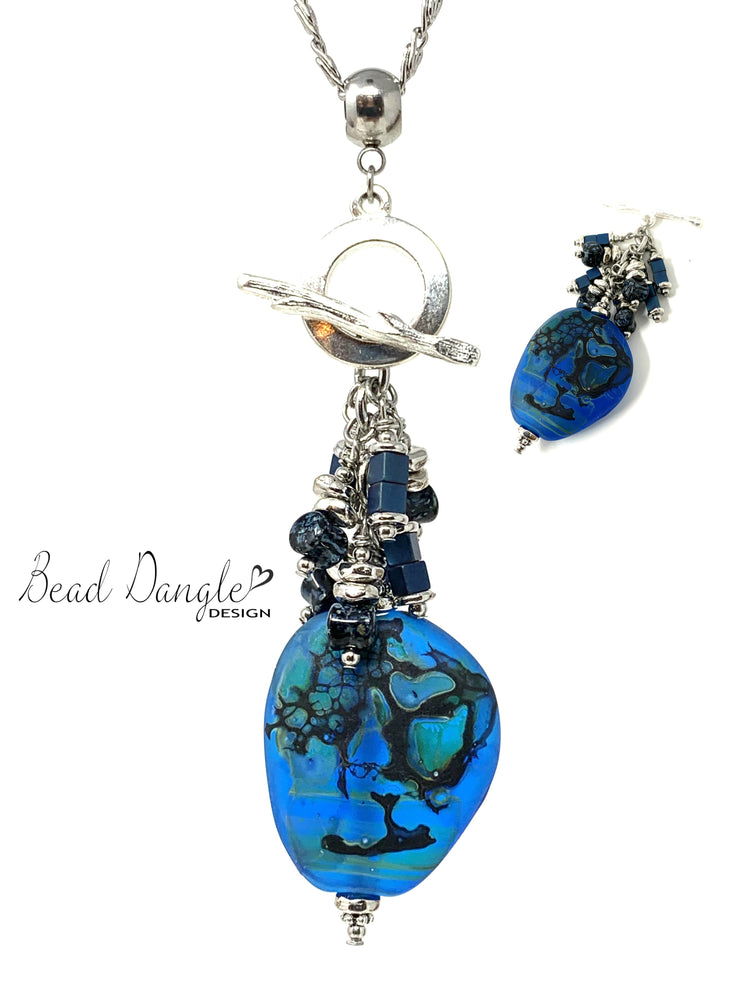 Cobalt Blue Lampwork Glass Swirl Beaded Cluster Pendant Necklace #2403D - Bead Dangle Design