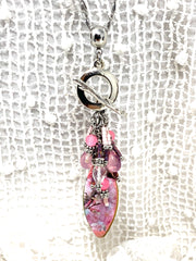 Pretty Pink Beaded Cluster Pendant Necklace #26370D